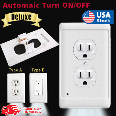 Night Wall  duplex outlet cover plate plug cover 3 LED lights with auto Sensor