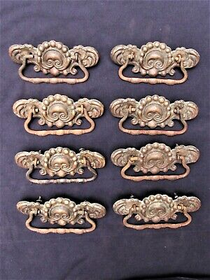 Set of 8 Antique Fancy Victorian Brass Drawer Pulls w/ Iron Bail Handles