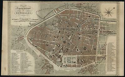 Brussels Belgium Bruxelles 1836 lovely detailed old city plan map