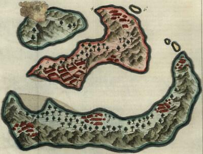 Banda Islands Indonesia Maluku 1750 Bellin charming settlements topography map