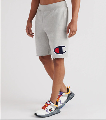 "Champion Oxford Grey Reverse Weave Cut-Off Big ""C"" Shorts"