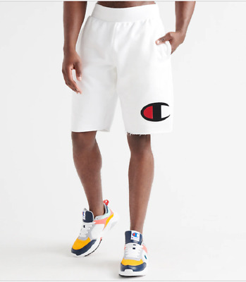 "Champion White Reverse Weave Cut-Off Big ""C"" Shorts"