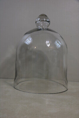 """Vintage Large Glass Cloche Hand Blown Bell Jar French Country Display 14"""""""