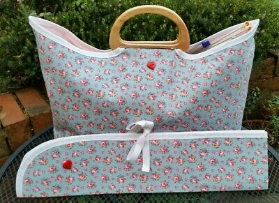 Knitting Bag, Matching Pin Case, in Cath Kidston fabric, Wooden Handle, Handmade