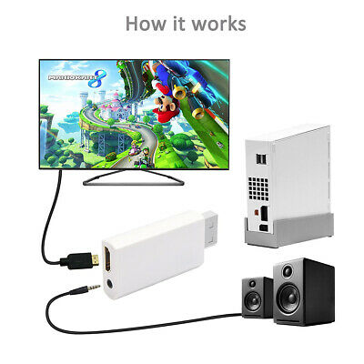 Wii Input to HDMI 1080P HD Output Converter Adapter Cable 3.5mm Jack UK Delivery