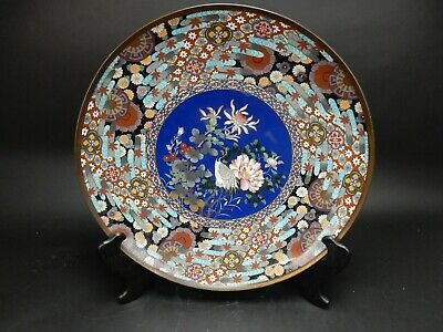 Large Antique Japanese 19th century Meji Period Cloisonne Charger 18 inches