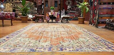 "Primitive  Antique Cr1930-1940's Muted Dye Wool Pile Oushak Area Rug 5'8""×9'2"""
