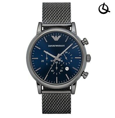 Brand New Armani Mens Chronograph Watch Ar1979 Blue Dial Luigi Mesh Strap, Coa