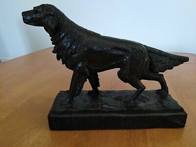 Black Forest Carved Dog Statue Signed P. Wheis