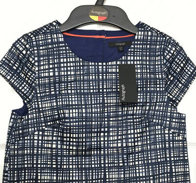 Girls Top Blouse M&S Autograph Navy Blue Check Lined Cotton Stretch 8-9Y BNWT