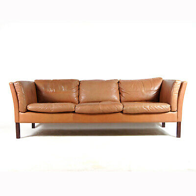 Retro Vintage Danish Stouby Teak Leather 3 Seat Seater Sofa 60s 70s Mid Century