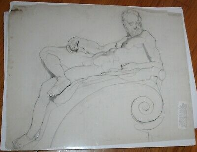 Antique Pencil Sketch Painting Zeus From Francis Humphrey Woolrych (1868-1941)