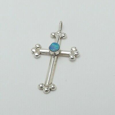 Sterling Silver Blue Opal October Birthstone Budded Cross Charm Pendant 3.5gr