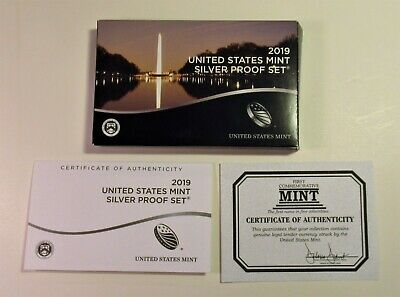 "2019-S 10 Coin U.S. Mint Silver Proof Set w/Box & COA  No Bonus ""W"" Lincoln Cent"