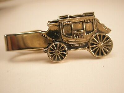-Wells Fargo Stage Coach Vintage Tie Bar Clip pony express us mail strong box
