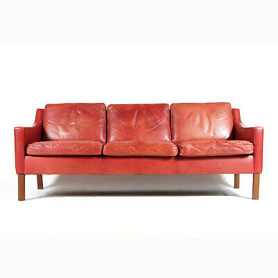 Retro Vintage Danish Red Leather Seat 3 Seater Sofa 70s Mid Century Modern 60s