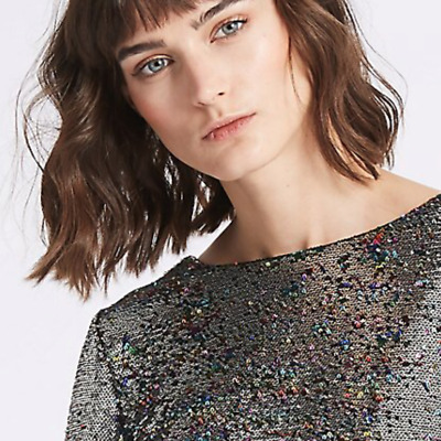 Ladies Silver Dress M&S Limited Sequinned Pull On Shift Mini 10 BNWT Marks Women