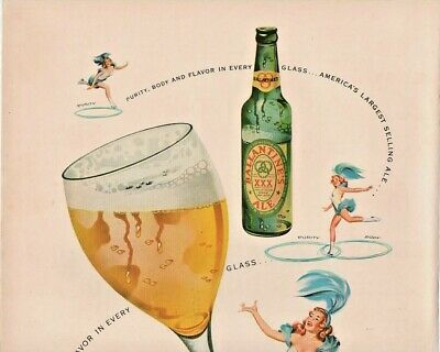 1949 Ballantine Ale Vintage Print Ad Purity Body Flavor Ice Skating Girl