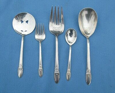 5 Piece 1847 Rogers Bros FIRST LOVE Serving Set ALL Embossed Pieces