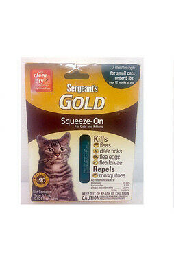 Sergeant's Gold Squeeze-On For Cats and Kittens: 3 Month Supply For Small Cats