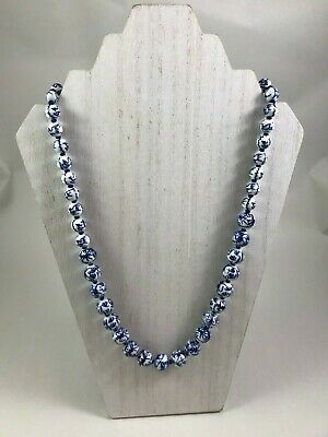 """Vintage Chinese Blue & White Porcelain Bead 24"""" Hand Knotted Necklace w/Tag"""
