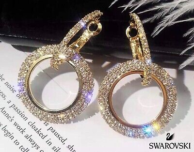 9320bdec3 Hoop Earrings SWAROVSKI 🦢 CRYSTAL Cubic Zirconia Pavé 18K Gold  Rhodium-Plated
