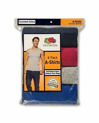 """Fruit of the Loom® BIG MEN'S 4/8 PACK Multicolor A-SHIRTS """" Cotton & Tagless """""""