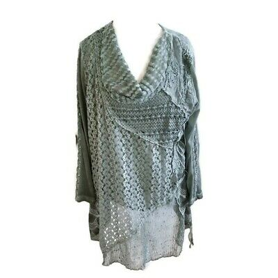 NEW Summer ITALIAN Vest Lace CROCHET Top Tunic TWIN SET Lagenlook 14-22 Size