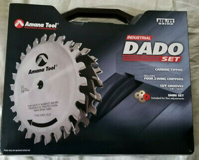 """DADO SET *NEW* AMANA 658030 8""""x24T ATB/FT-5Deg 5/8 Bore w/ 5 2-Wing Chippers"""