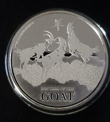 Niue 2015 Two Dollars Year Of The Goat 1 Oz .999 Prof Silver Mirror Shiny Coin
