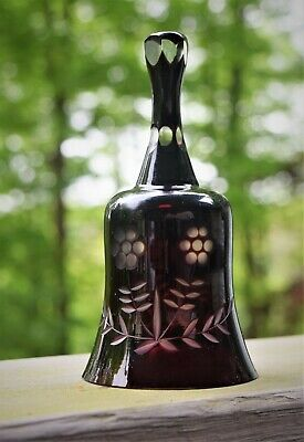 """Lovely Vintage Deep Red Cut to Clear Glass Flowers Bohemian Bell 5 1/4"""" Tall"""