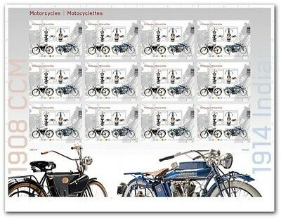 Motorcycles Indian 1914 Ccm 1908 Uncut Press Sheet Limited Edition Canada 2013