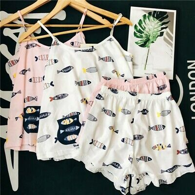 Cute Women's Girl Sleepwear Short Sleeve Cotton Pajamas Set Nightgown Homewear