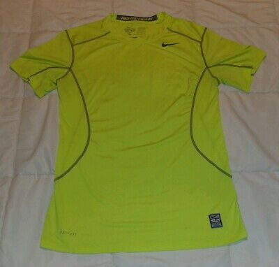 57aae19d Men's SMALL Nike Pro Combat Dri-Fit Compression Shirt short sleeve neon  yellow