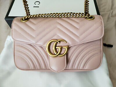 0a24fd25d2ad Authentic Gucci Marmont Small Shoulder Bag Light Pink Quilted Leather