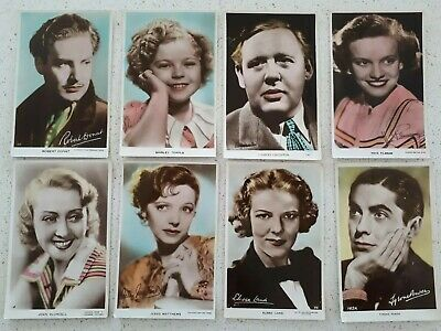 VINTAGE 1930s MOVIE STAR COLOUR PHOTO ENGLISH POSTCARDS X 8