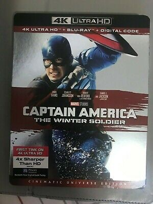 Captain America Winter Soldier 4K UHD Blu-Ray + Blu-Ray with Slipcover