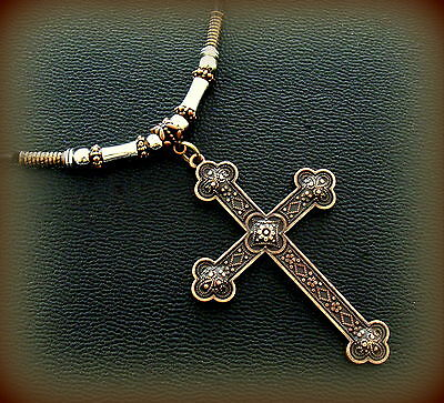 BYZANTINE Antique Art Deco Art Nouveau Style CROSS Pendant Necklace Jewelry