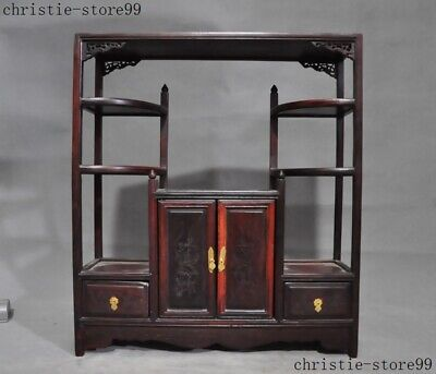 Old China Huanghuali wood Carving orchid miniature Locker drawer Shelf cabinet