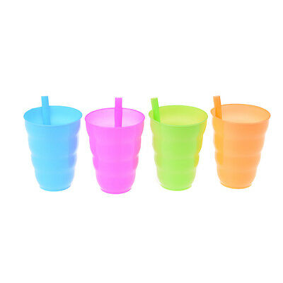 4X Kid Children Infant Baby Sip Cup with Built in Straw Mug Drink Solid Fe AA