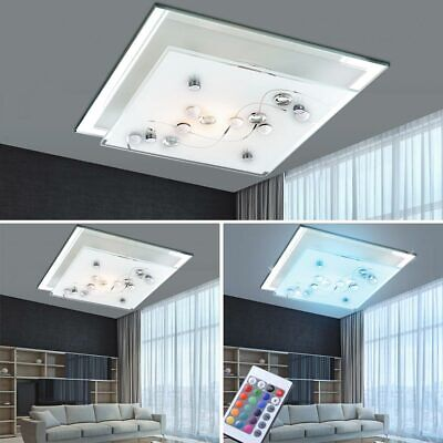 RGB LED Ceiling Light Chrome Dimmer Remote Control Kitchen Glass Wall Satin