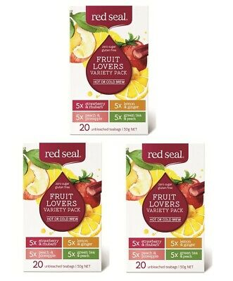 New 3 x Red Seal Fruit Lovers Variety Pack 20 Tea Bags Zero Sugar, Gluten Fre
