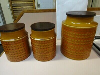HORNSEA CANISTERS.Saffron pattern .Set of 3 from 1970 s.Made in England