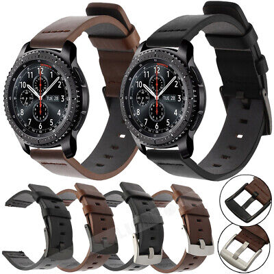 18mm-22mm Genuine Leather Soft Replacement Strap Steel Buckle Wrist Watch Band