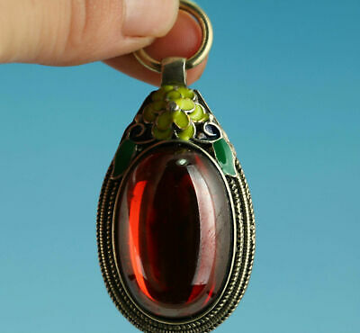 Very Good Chinese Tibet Old Red Jade Inlay Silver Pendant In Good Condition