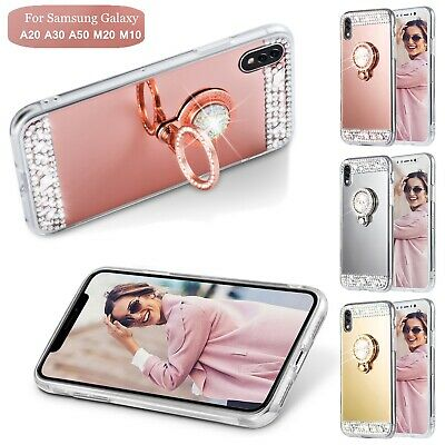 For Samsung A50 A30 A20 M20 Luxury Shockproof Case Mirror TPU Slim Stand Cover
