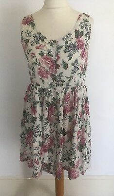 G8 Clockhouse Vintage 80'S Sleeveless Floral Print Dress Button Front White/Pink