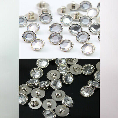 100Pcs Crystal Clear Acrylic Rhinestone Silver Back Shank Buttons Sewing Craft