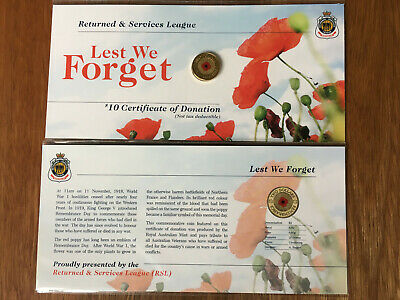 2012 Red Poppy $2 Two Dollar Coin on Original RSL card very Low Mintage