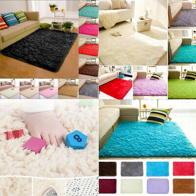 Large Fluffy Thick Plain Soft Silky Shaggy Pile Living Room Bedroom Floor Rugs